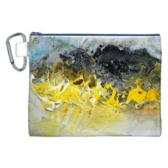 Bright Yellow Abstract Canvas Cosmetic Bag (XXL)