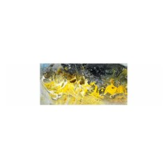 Bright Yellow Abstract Satin Scarf (oblong)