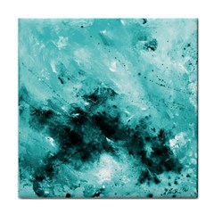 Turquoise Abstract Tile Coasters