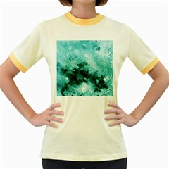 Turquoise Abstract Women s Fitted Ringer T Shirts