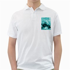 Turquoise Abstract Golf Shirts