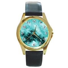 Turquoise Abstract Round Gold Metal Watches