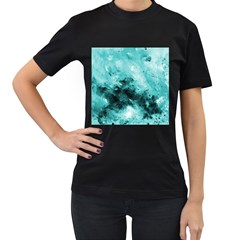 Turquoise Abstract Women s T-Shirt (Black) (Two Sided)