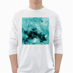 Turquoise Abstract White Long Sleeve T-Shirts