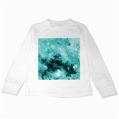 Turquoise Abstract Kids Long Sleeve T Shirts