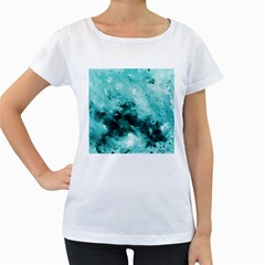 Turquoise Abstract Women s Loose-Fit T-Shirt (White)