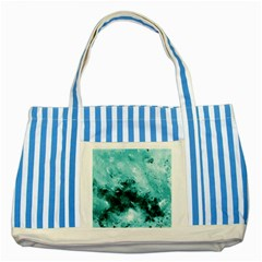 Turquoise Abstract Striped Blue Tote Bag
