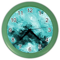 Turquoise Abstract Color Wall Clocks