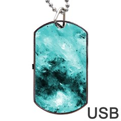 Turquoise Abstract Dog Tag USB Flash (Two Sides)