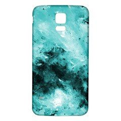 Turquoise Abstract Samsung Galaxy S5 Back Case (White)