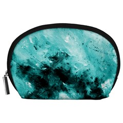 Turquoise Abstract Accessory Pouches (Large)