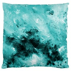 Turquoise Abstract Large Flano Cushion Cases (Two Sides)