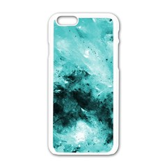 Turquoise Abstract Apple Iphone 6 White Enamel Case