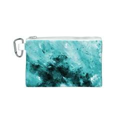 Turquoise Abstract Canvas Cosmetic Bag (S)