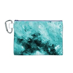 Turquoise Abstract Canvas Cosmetic Bag (M)