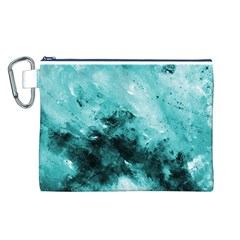 Turquoise Abstract Canvas Cosmetic Bag (L)
