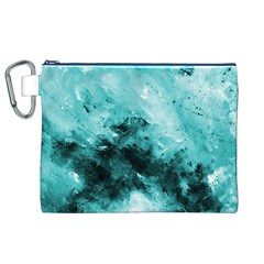 Turquoise Abstract Canvas Cosmetic Bag (xl)