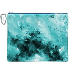 Turquoise Abstract Canvas Cosmetic Bag (XXXL)