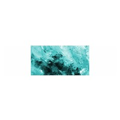 Turquoise Abstract Satin Scarf (Oblong)