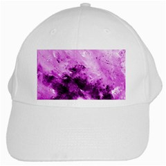Bright Pink Abstract White Cap