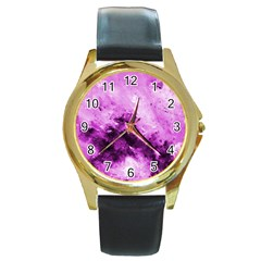 Bright Pink Abstract Round Gold Metal Watches