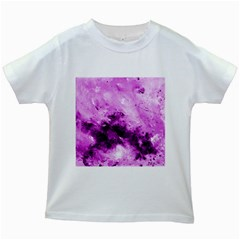 Bright Pink Abstract Kids White T-Shirts