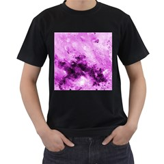 Bright Pink Abstract Men s T-Shirt (Black) (Two Sided)