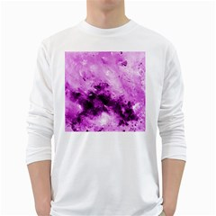 Bright Pink Abstract White Long Sleeve T Shirts