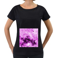 Bright Pink Abstract Women s Loose-Fit T-Shirt (Black)