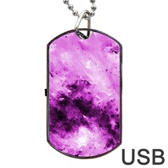 Bright Pink Abstract Dog Tag USB Flash (Two Sides)
