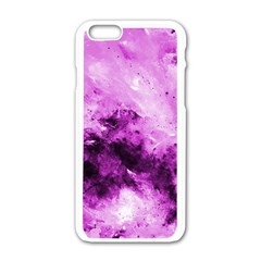 Bright Pink Abstract Apple iPhone 6 White Enamel Case
