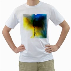 Watercolor Abstract Men s T-Shirt (White) (Two Sided)