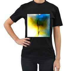 Watercolor Abstract Women s T-Shirt (Black) (Two Sided)