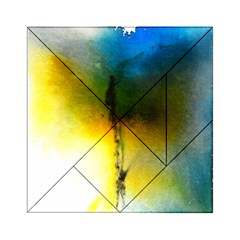 Watercolor Abstract Acrylic Tangram Puzzle (6  x 6 )
