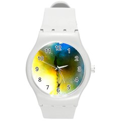 Watercolor Abstract Round Plastic Sport Watch (m)