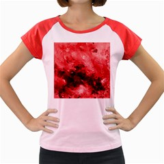 Red Abstract Women s Cap Sleeve T-Shirt