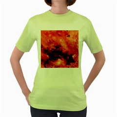 Red Abstract Women s Green T-Shirt