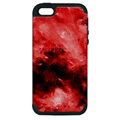 Red Abstract Apple Iphone 5 Hardshell Case (pc+silicone)