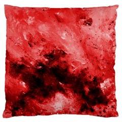 Red Abstract Large Flano Cushion Cases (Two Sides)