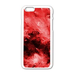 Red Abstract Apple Iphone 6 White Enamel Case
