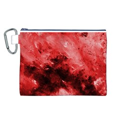 Red Abstract Canvas Cosmetic Bag (L)
