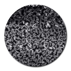 Gray Cubes Round Mousepads