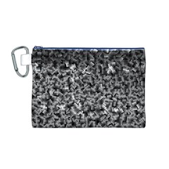 Gray Cubes Canvas Cosmetic Bag (M)