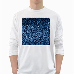 Blue Cubes White Long Sleeve T-Shirts