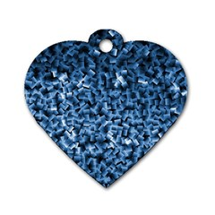 Blue Cubes Dog Tag Heart (two Sides)