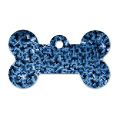 Blue Cubes Dog Tag Bone (two Sides)