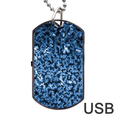 Blue Cubes Dog Tag Usb Flash (one Side)