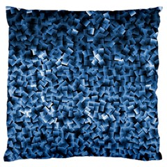 Blue Cubes Large Flano Cushion Cases (one Side)
