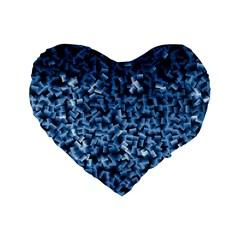 Blue Cubes Standard 16  Premium Flano Heart Shape Cushions