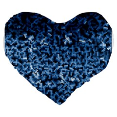 Blue Cubes Large 19  Premium Flano Heart Shape Cushions